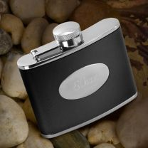 Stainless Steel 4 oz. Leather Flask