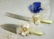 Diamond Cake & Knife Server Set